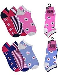 3 or 6 Pairs of Ladies Women's Trainer Sport Cushion Liner Socks
