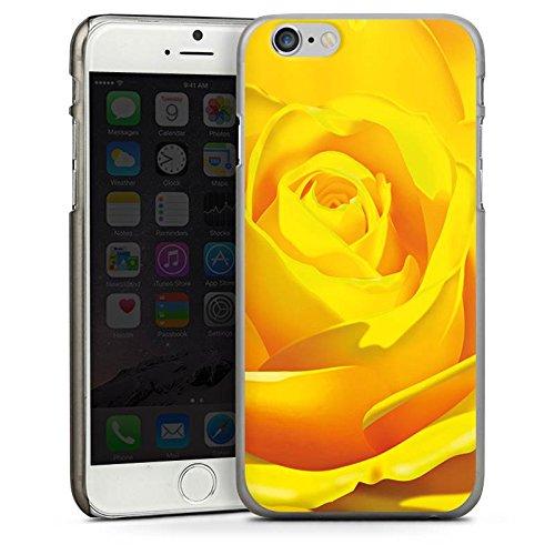 Apple iPhone 4 Housse Étui Silicone Coque Protection Rose Fleur Jaune CasDur anthracite clair