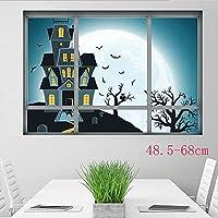 Xue Halloween-Wandgemälde, 3D DREI Dimensional, Gefälschtes Fenster, Nacht, Haarsträubendes Haus, Wohnzimmer Schlafzimmer, Kunst Dekor, Tapeten, Wanddecal, Aufkleber, Selbstklebendes Papier