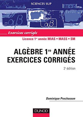 Mathématiques - Exercices corrigés - Algèbre 1re année
