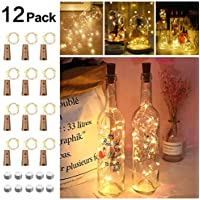 Opard Bottle Lights with Cork 12 Pack Battery Operated 2M 20LEDs Copper Wire Wine Bottle Lamp Warm White for Indoor Outdoor Christmas Parties Wedding Decoration (Warm White)