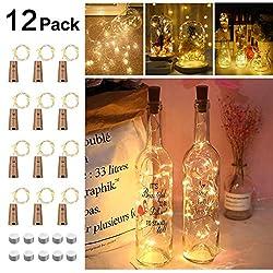 Opard Flaschenlicht 12x 20 LED Flaschen-Licht Lichterkette flaschenlichterkette korken LED Nacht Licht Weinflasche Hochzeit Party romantische Deko (Warme Weiß)