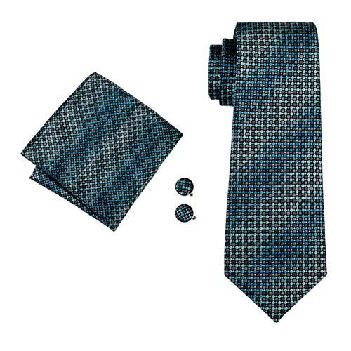 FDHFC Designer Krawatten Für Männer Grüne Geometrische Mode Krawatten Manschettenknöpfe Set Für Hochzeitsfest -