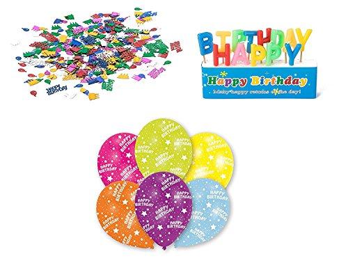 Happy Birthday Deko-Set (3tlg), Kerzen Konfetti 6x-Ballons, Ideal für ihre Geburtstag-Party / Geburtstags-Deko