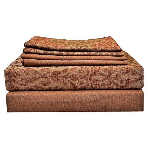 Just Leinen 350Fadenzahl 100% Qualität Ägyptische Baumwolle echtem Jacquard Damast Abstrakt Design, multicolor, doppelte Größe Betten Blatt-Set mit 4Kissen & Tief, Spannbettlaken, baumwolle, mehrfarbig, UK Double (6 PC Set)
