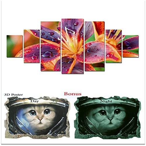 Grande décoration murale sur toile Startonight Bundle Multicolore Fleur de lys, Big encadrée Peinture, cadeau gratuit Poster 3d Chat pour enfants