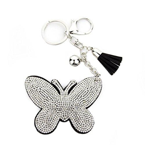 hänger Handtaschen Dekoration in Schmetterling Motiv aus glitzernden Strass Steinen mit Kordel und Fransen Geschenkidee ()