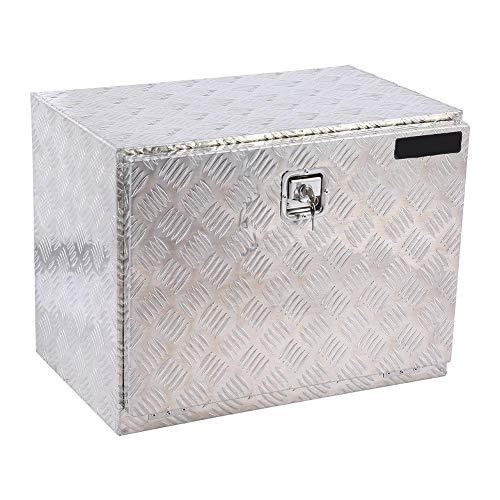 Boîte à Outils de Camion, 24'' Coffret à Carreaux en Aluminium Sécurité Vide avec Clé pour Stockage des Outils Articles, Taille: 60 x 46.5 x 37.5cm