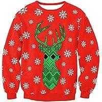 Novedad navidad Sudadera con cuello redondo de navidad Sudadera con estampado de alces de navidad Otoño invierno Outwear Tops Manga larga Sport Jumpers Blusa -S ( Color : Red and Green2 , tamaño : L )