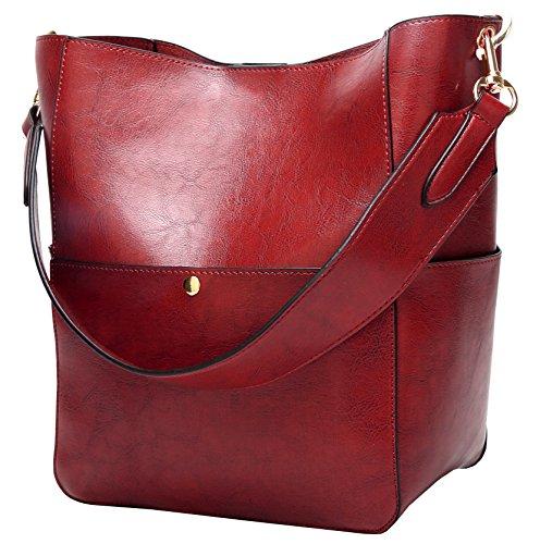 Molodo Damen Satchel Hobo Spitzenhandgriff-Schulter-Handtasche aus weichem Leder Umhängetasche Designer-Handtaschen-große Kapazitäts-Bucket-Taschen X-Large Weinrot - X-large-tasche