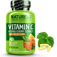 NATURELO Premium Vitamin C with Organic Acerola Cherry and Citrus Bioflavonoids - Whole Food Powder Supplement - Not Synthetic Ascorbic Acid - 500 mg - Non-GMO - Raw Vegan - 90 Capsules