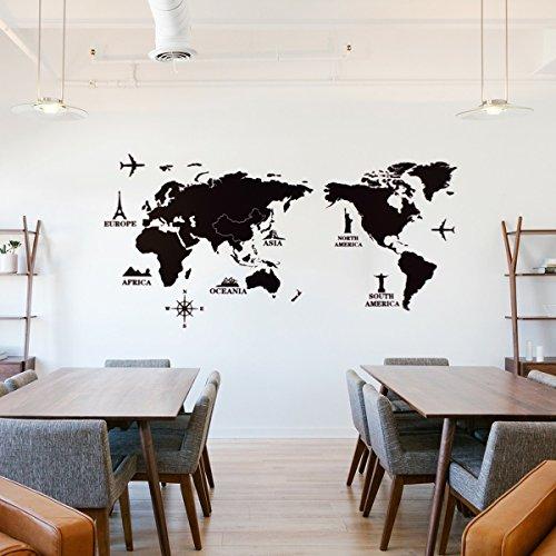Vinilo decorativo Pegatina de pared Adhesiva Mapamundi para dormitorios, habitaciones Juveniles, salónes, oficinas...