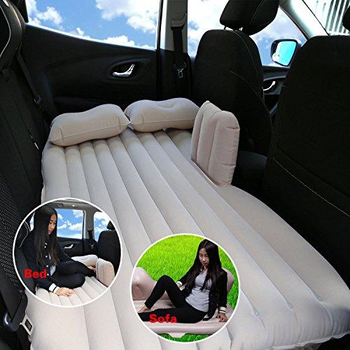 Camping Auto Mobile Kissen Luft-Bett Inflation Matratze Rücksitz Verlängerte Couch für SUVs und Limousinen und Trucks, PVC, beige, without baffle - 3