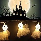 elec tech Halloween Geist Elf Lichterkette LED Schnurlicht 1.5m 10 LEDs Kürbis Geist Licht für Außen Weihnachten Halloween Party Park Fest Deko Warmweiß