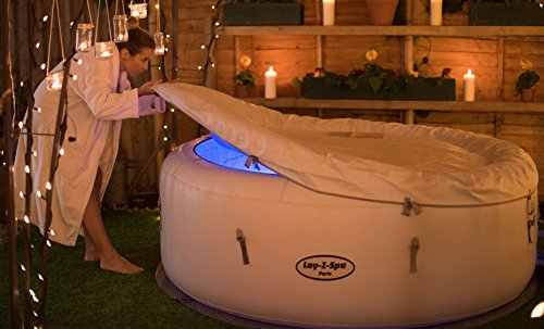 Lay -Z-Spa Paris Hot Tub with LED Lights, Airjet Inflatable, 4-6 Person