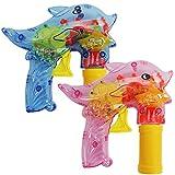 com-four 2-teiliges Set LED-Seifenblasen-Pistole Delfin, Bubble-Gun z.B. als Mitgebsel bei Einem Kindergeburtstag (02 Stück - Delfin V2)