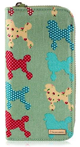 Kukubird nuove ragazze / Signore Grande Chihuahua Poodle Pattern pelle portafoglio Green