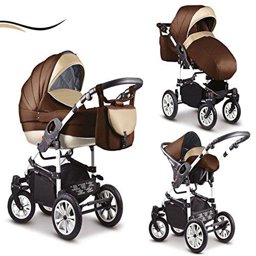 """16 teiliges Qualitäts-Kinderwagenset 3 in 1 Mikado """"COSMO"""": Kinderwagen + Buggy + Autokindersitz + Schwenkräder – Mega-Ausstattung – all inclusive Paket in Farbe (C-7) MOCCA-BRAUN-WEISS"""