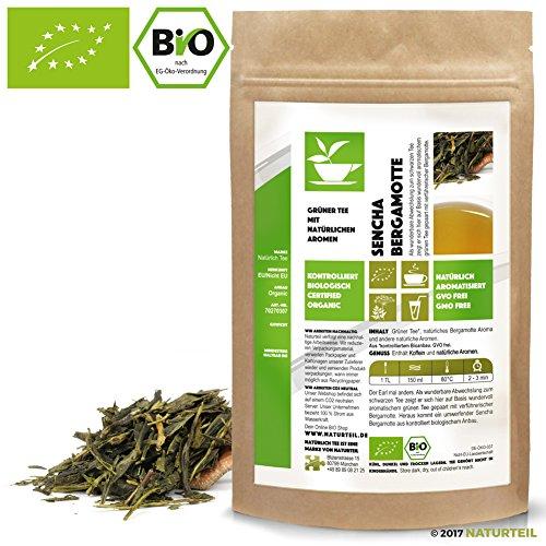 NATÜRLICH TEE - GRÜNER TEE SENCHA BERGAMOTTE BIO / Natürlich Aromatisierter Grüntee, Flavored Green Tea Organic - 250G
