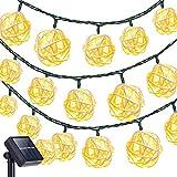 KINGCOO Cadena de Luces de ratán, Impermeable 20LED Solar Hada Bola Decorativa Cadena de Luces con 2Modos de iluminación para al Aire Libre jardín Patio Patio Navidad Party