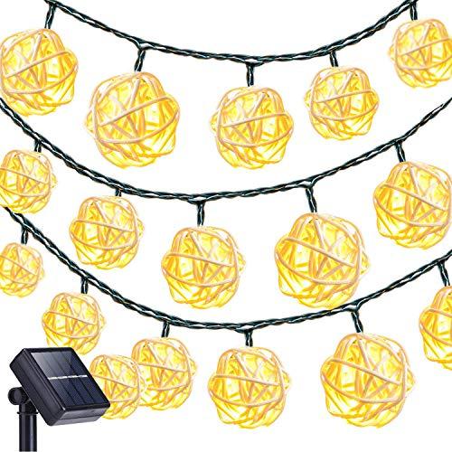Rattan Ball Luci della Stringa,KINGCOO Impermeabile 20LED Solare Catene Luminose Fata Decorativo Luci a Corda con 2 modalità Illuminazione per Esterni Giardino Patio Natale Festa (Bianco caldo)