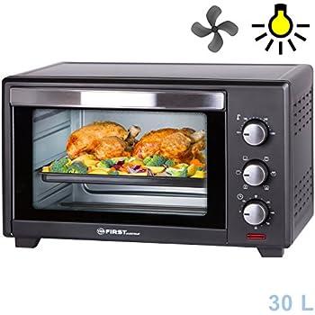 Mini four | 30 litres | 1600 watts | Four avec éclairage intérieur et chauffage tournant | Mini four à pizzas | Porte à double vitrage | Minuterie | TZS First Austria