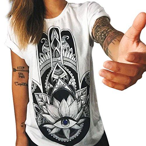 Donna Owl / Letters / stampa a maglia T-shirt Maglia a maniche corte con collo rotondo in Solid Color Minzhi Dito