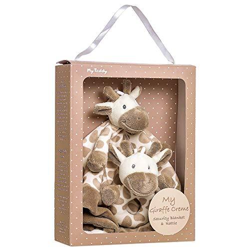 My Teddy My Newborn Geschenkbox Kuscheltuch und Rassel Giraffe - Schnuffeltuch Schmusetuch Stofftier Babyrassel Kuscheltier für Kleinkinder Neugeborene Baby