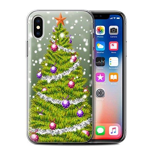 Stuff4 Gel TPU Hülle / Case für Apple iPhone X/10 / Lila Muster / Weihnachts Tannenbaum Kollektion Grün