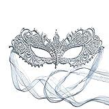 Antifaz máscara de carnaval veneciana cordón plata De las mujeres - Diosa