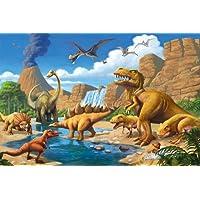 GREAT ART Affiche Dinosaure murale chambres enfants Décoration murs comiquel aventure Dino mondiale style jungle cascade Dinosaurus | mur deco Poster mural Image by (140 x 100 cm)