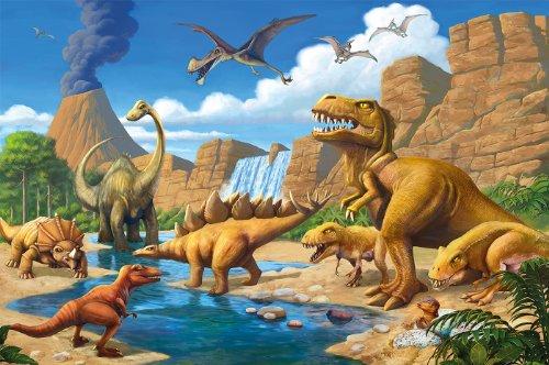 Poster Kinderzimmer Abenteuer Dinosaurier - Wandbild Dekoration Dinowelt Comic style jungle adventure Dinosaurus Wasserfall | Wandposter Fotoposter Wanddeko Wandgestaltung by GREAT ART (140 x 100 cm)