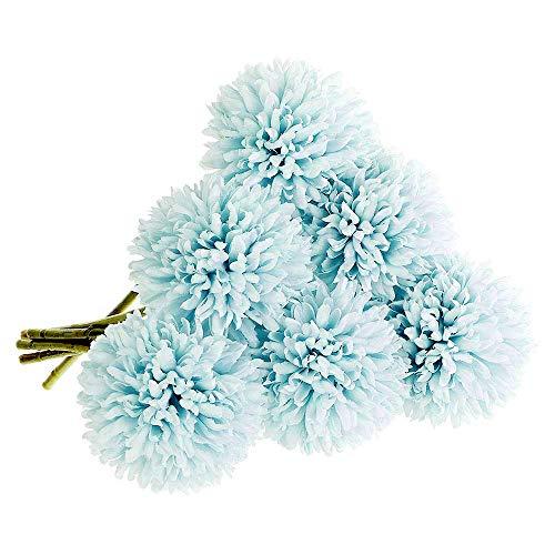 Magiin 6 teste fiori artificiali fiori finti di seta plastica ortensia artificiali da sposa bouquet decorazione domestica giardino casa azzurro