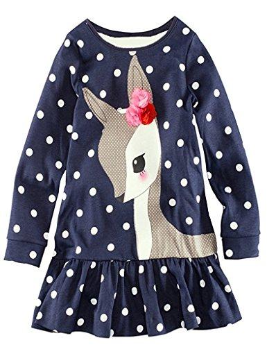 kimberleystore 1 Pc Baby Girls Long Sleeve Polka Dots Deer Pattern Dress Top Long T-shirt (4T)