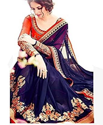Sunshine Fashion Women's Georgette Saree (Sunsa2460_Blue_Free Size)