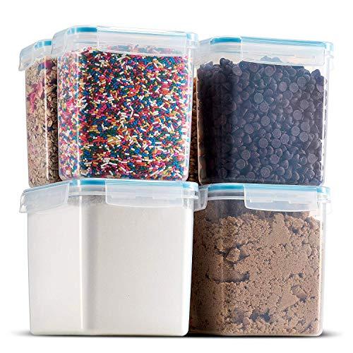 SLCC Biokips Food Storage - Zucker, Mehl, Backzutaten und Speisekammer Vorratsbehälter (6 Stück) - Luftdicht, dicht mit Verschlussdeckeln - BPA Free Plastic - Gefrierschrank und Spülmaschinenfest