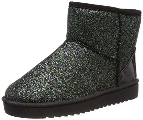 AARDIMI Bling Glitter Schnee Stiefel Frauen Dicken Pelz Warme Flache Plattform Baumwolle Pailletten Tuch Stiefeletten Winter Schuhe (37, Schwarz) -