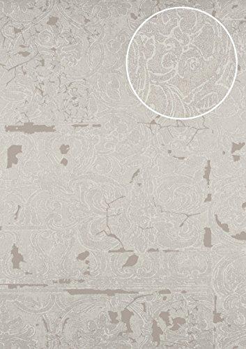 Barock Tapete ATLAS CLA-599-2 Vliestapete geprägt mit Ornamenten glänzend silber grau-beige...