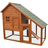 BUNNY BUSINESS Deluxe Mini Lodge Rabbit/ Guinea Hutches Run with Deluxe Cover, 141 x 66 x 120 cm