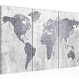 Bilder Weltkarte World Map Wandbild 120 x 80 cm Vlies - Leinwand Bild XXL Format Wandbilder Wohnzimmer Wohnung Deko Kunstdrucke Grau 3 Teilig - MADE IN GERMANY - Fertig zum Aufhängen 104331c