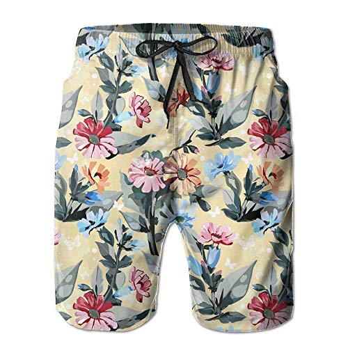 ZMYGH Daisy Floral with Butterfly Men's Summer Beach Quick-Dry Surf Swim Trunks Boardshorts Cargo Pants XL Butterfly Capri-jeans