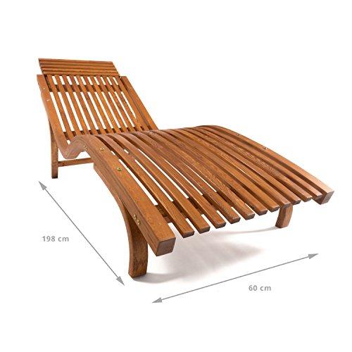 Sonnenliege Cannes   Gartenliege ergonomisch geschwungen   Relaxliege mit wählbarer Liegeposition   wetterfeste Gartenmöbel aus Holz - 5