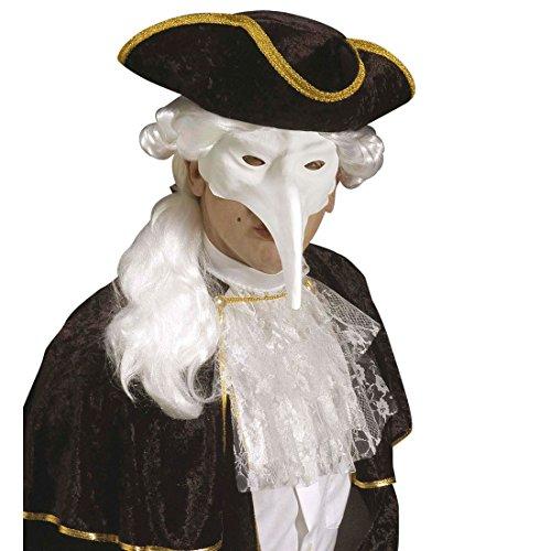 Amakando Venezianische Maske Schnabelmaske zum Bemalen weiß Vogel Faschingsmaske Pantalone Karnevalsmaske Venedig Augenmaske mit Langer Nase Maskenball Halloween (Maske Lange Nase Venezianische)