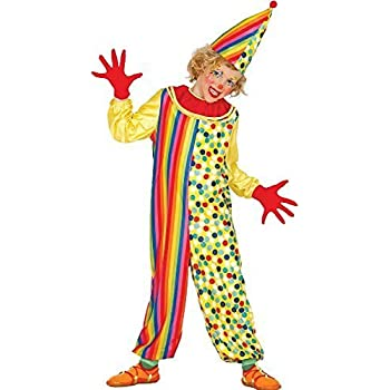 Boys Spotted Clown Jumpsuit Circus Carnival Fancy Dress Costume Outfit 3-10 yrs