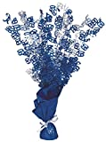 Unique Party 56467 Centrotavola per 60° Compleanno con Peso per Palloncino, Blu Brillante