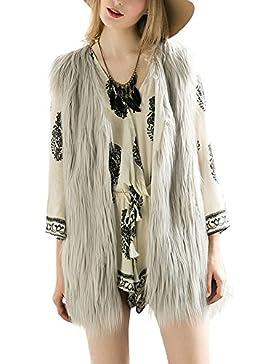 Simplee Apparel Women 's sin mangas cuello V Faux Fur Gilet chaleco chaleco de abrigo de causal de invierno