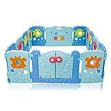 Baby Vivo Laufgitter Laufstall Baby Absperrgitter Krabbelgitter Schutzgitter für Kinder aus Kunststoff mit Tür und Spielzeug 14 Elemente - Sea World