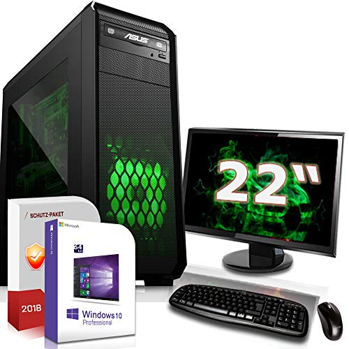 Multimedia PC mit Monitor AMD A4-6300 2x3.7GHz |ASUS Board|22 Zoll TFT|8GB DDR3|120GB SSD|Radeon HD8370D HDMI|DVD-RW|USB 3.0|SATA3|Sound|Windows 10 Pro|Made in Germany|3 Jahre Garantie
