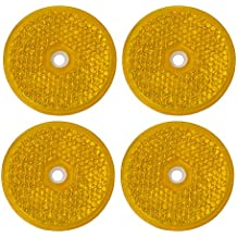 AERZETIX: 4 x Catadioptrico adhesivo redondo naranja 61mm para coche motocicleta bicicleta camión remolque
