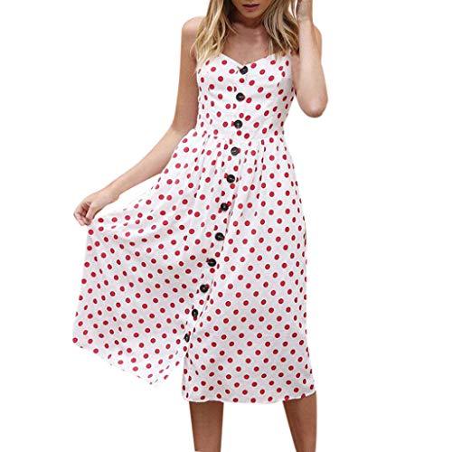 SANFASHION Damen Maxikleider,Frauen Sommer Taschen Strappy Single Breast Sexy Dot Print V-Ausschnitt Flare Kleider Floral Strappy Kleid